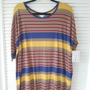 New LuLaRoe Irma Top-Blue/Red/Yellow